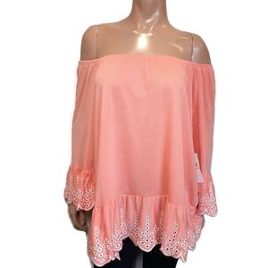 FEVER Off Shoulder Boho Eyelet Flare Hem Coral Top